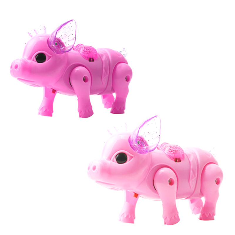 Electric Walking Singing Musical Light Pig Toy With Leash Interactive Kids Toy Birthday Gifts