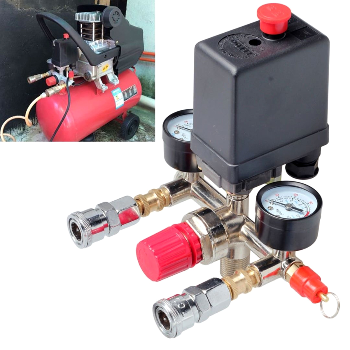 230V Pressure Switch Air Valve Manifold Air Compressor Pressure Control Regulator Gauge  Regulator Gauge With Quick Connector