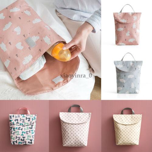 UK Outdoor Baby Nappy Reusable Washable Cloth Waterproof Diaper Storage Hand Bag