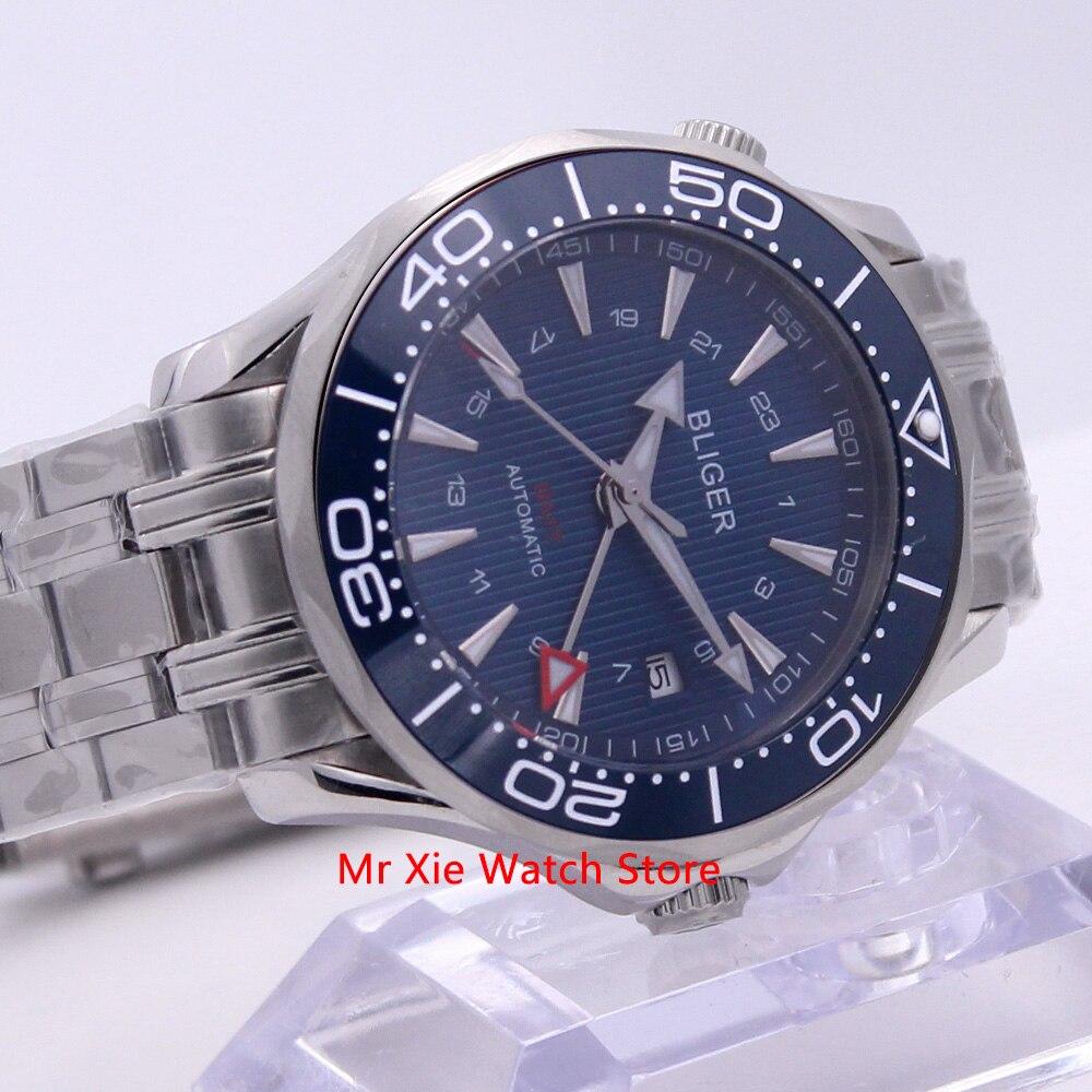 Bliger 41mm Automatic Mechanical Watch Men Luxury Sapphire Crystal Ceramic Bezel GMT Watch Luminous Waterproof Wristwatch Men