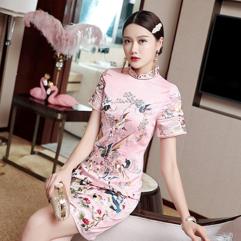 2020 Chinese Style Retro Embroidery Cheongsam Qipao Girl Dress Women Embroidery Flower Satin Cheongsam Chinese Dress