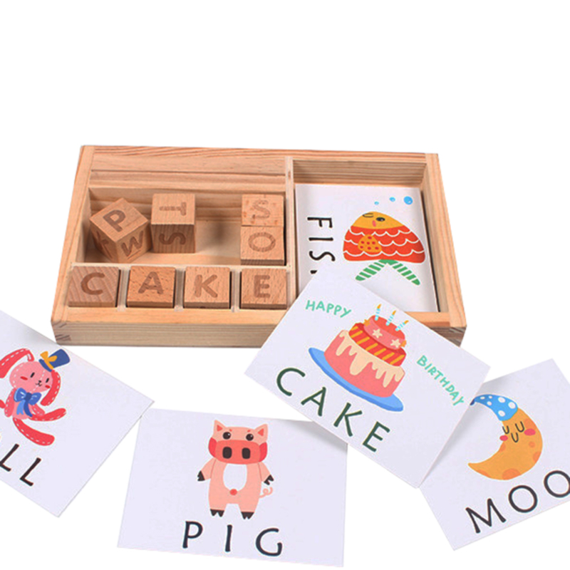 Baby Learning Toy Wooden Spelling English Word Game Letters Cardboard Montessori Teaching  Spell Word  Building Blocks