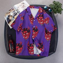 2020 Men Vintage Purple little devil print Shirts Mens Summer Fashion Shirts Casual Short Sleeve Beach Tops Loose Casual Shirts(China)