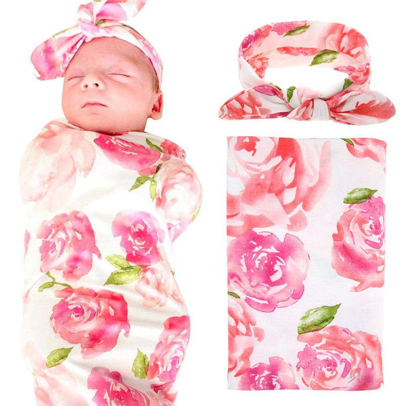Newborn Baby Swaddle Blanket And Headband Value Set,Receiving Blankets , Pink Flower