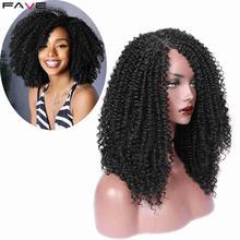 FAVE Afro Kinky CURLY 9*1.4 ด้านหน้าลูกไม้ด้านข้างสำหรับผู้หญิงสีดำวิกผมสังเคราะห์สีดำธรรมชาติ 18 นิ้ว COSPLAY Wigs