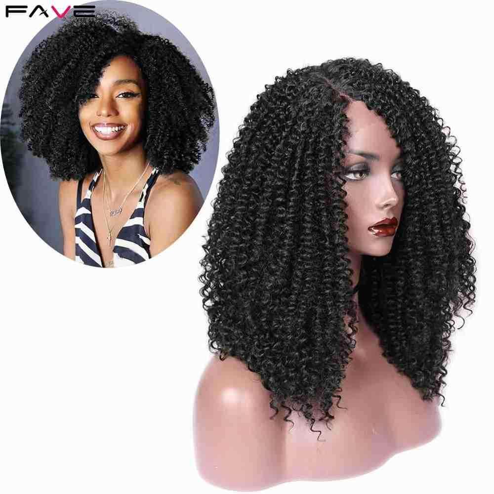 FAVE Afro perwersyjne kręcone 9*1.4 koronki przodu przedziałek z boku dla czarnych kobiet peruki syntetyczne naturalny czarny kolor 18 cali Cosplay peruki