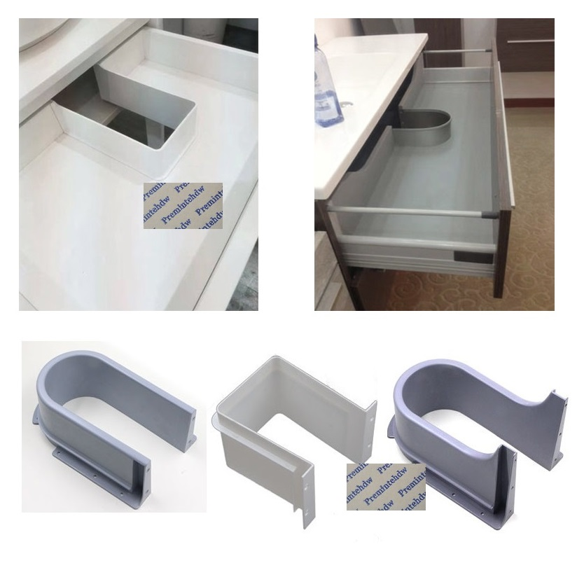 Plastic U Shape Under Sink Basin Bath Cabinet Drawer Pull Out Recessed U Cutout Cover For Drainage Grommet