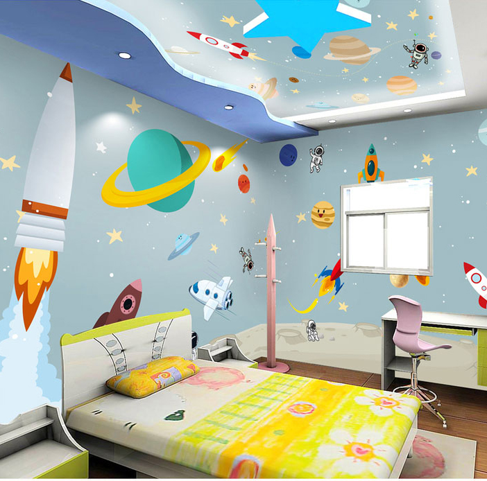 Bacaz 3d Cartoon Wall paper Outer Space Rocket Universe 3d Cartoon Ceiling Wallpaper Murals for Kids Child Baby Room 3d Sticker