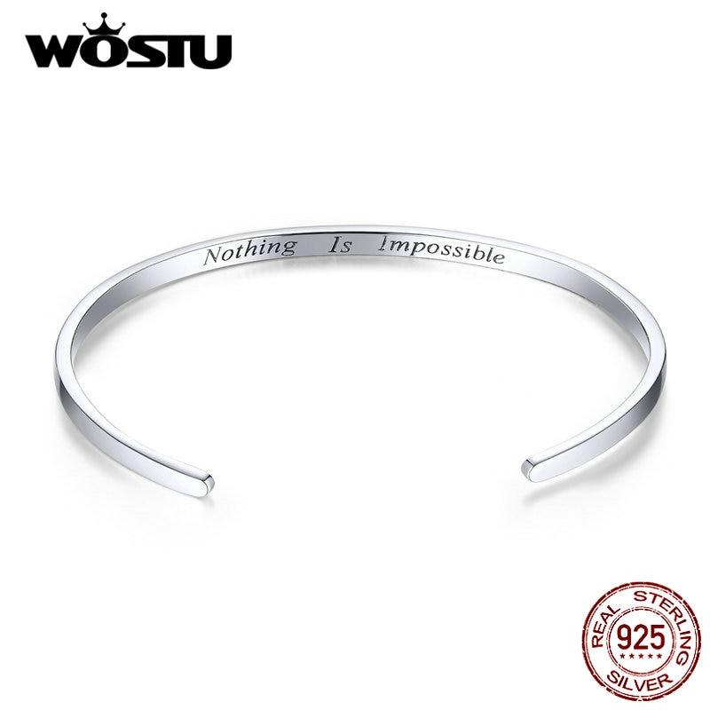 WOSTU 925 Sterling Silver European Charm Bead Bangle & Silver Bracelet Fashion Jewelry For Women Men Gift Jewelry Make