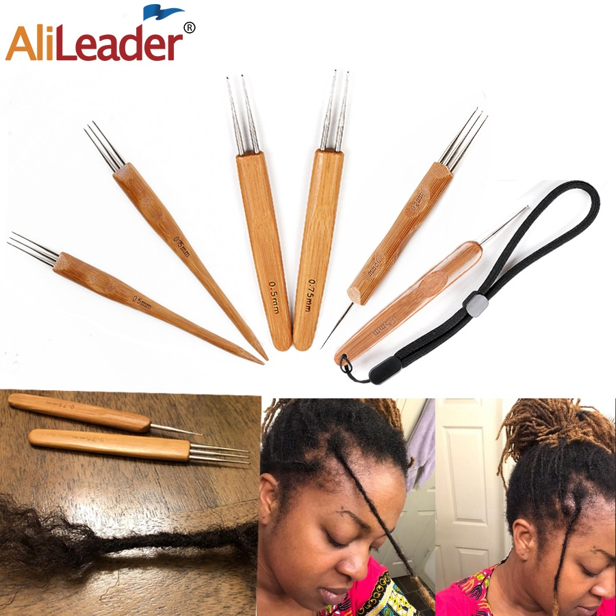 Alileader крючком-Крючок для дредов, игла для парика 1/3, 3, инструмент для наращивания волос, бамбуковый Держатель для игл 0,5 мм/0,75 мм