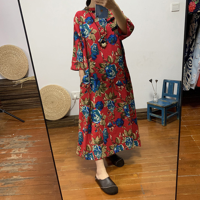 Ethnic women's long cotton and linen large color loose size dress Chinese retro diagonal buckle tea clothing autumn 1