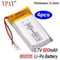 4 stücke Hohe Qualität 3,7 V 802035 800mAh Li-Ion Polymer Lithium-Batterie 3,7 Volt Lithium-Ionen Li-po li-polymer Batterien Zellen