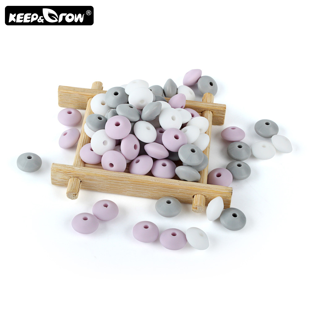 Keep&Grow 10Pcs Silicone Lentil Beads 12mm Pearl Baby Teether Bead DIY Teething Necklace Accessories Oral Care Baby Products