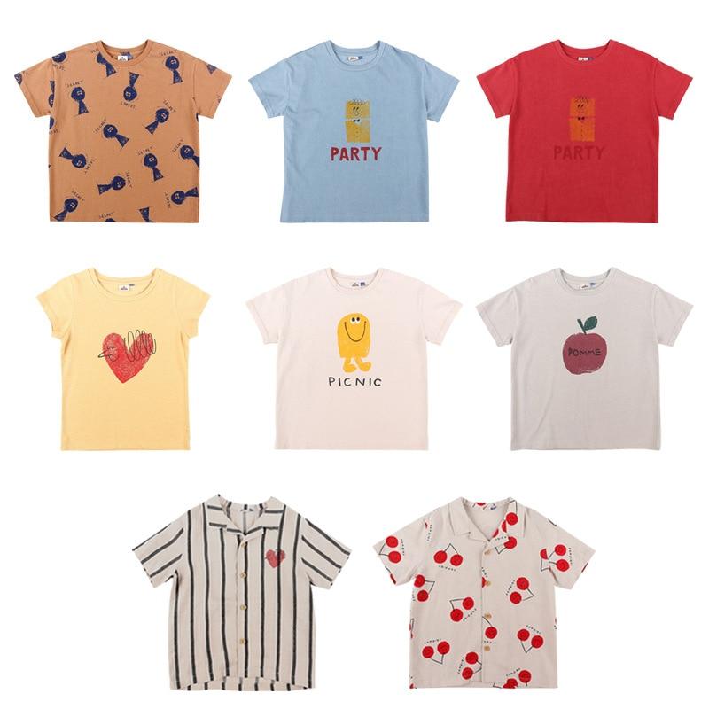EnkeliBB Toddler Summer Fashion T Shirt Jelly Brand Design Kids Short Sleeve Tops Child Stylish Cartoon Apple Pattern T-shirts