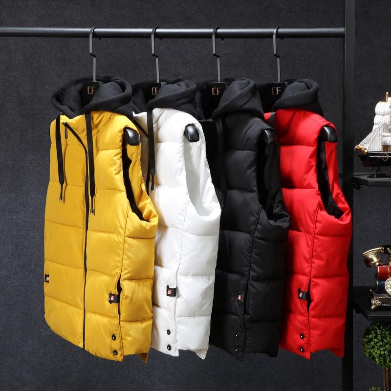 Mens Winter Jackets Casual Thick Vests Men Sleeveless Hoodie Coats Male Cotton Padded Warm Slim Sleeveless Waistcoat