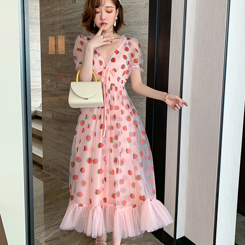 Summer Runway Hot Drill Strawberry Dress Women Sweet Long Flare Sleeve V Neck Empire Lace up Sheer Mesh Holiday Pink Lady Dress|Dresses| - AliExpress