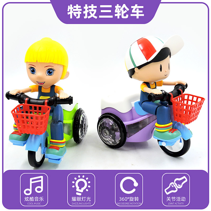 Douyin Celebrity Style Electric Stunt Universal Tricycle Music Lights Rotating 360-Degree Tilting Cartoon CHILDREN'S Toy