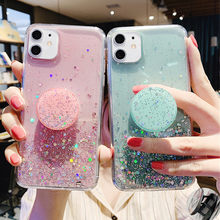 3D Leuke Bling Glitter Zachte Schoon Case Voor Iphone 11 Pro Max Xr X Xs 6 S 7 8 Plus stand Houder Socket Back Cover Voor Iphone 11 Xr(China)
