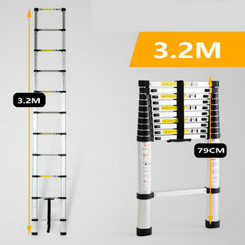 3.2M telescopic ladder single straight ladder family portable folding ladder project thickened aluminum alloy one-word ladder