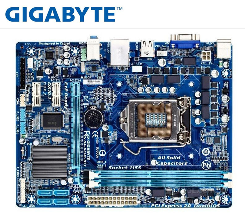 Gigabyte GA-H61M-DS2 Original Mainboard LGA 1155 DDR3 H61M-DS2 16GB Support I3 I5 I7 H61 Boards PC Desktop Motherboard