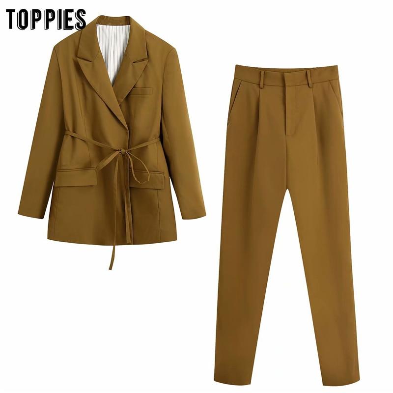 Toppies Women's Suit Set Office Ladies Long Blazer Jacket High Waist Suit Pants Two Piece Set 2020 Fashion