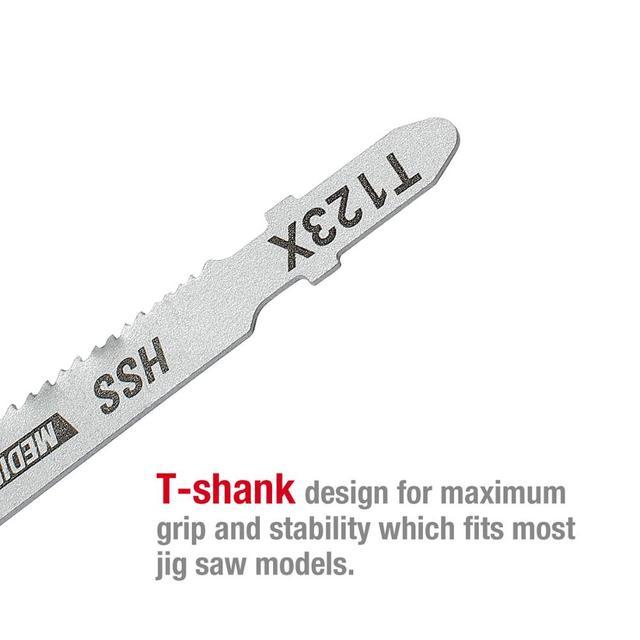 WORKPRO 25PC Saw Blades T-Shank  Jigsaw Blades Assorted Blades for Wood Plastic Metal Cutting Saw Blades Made with HCS/HSS/BIM 4