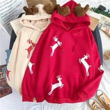 Frohe Weihnachten geschenk Schnee deer print Harajuku hoodie frauen winter jacke Rot Kawaii sweatshirt Koreanischen stil Pullov