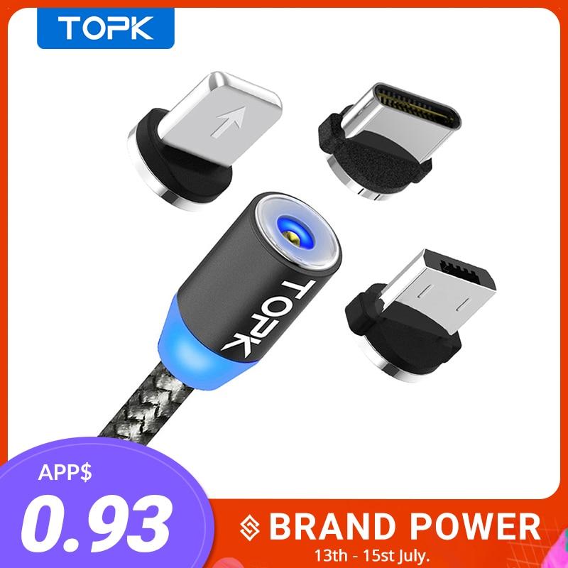 TOPK AM17 LED manyetik USB kablosu/mikro USB/tip-c iPhone X Xs Max mıknatıs şarj samsung Xiaomi için Pocophone USB C