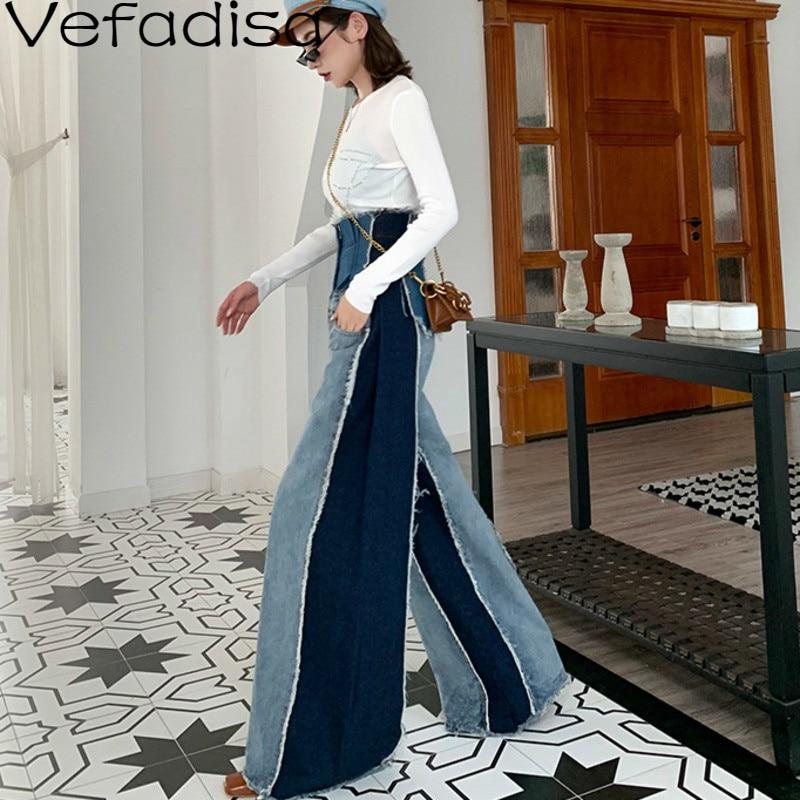 Vefadisa automne coton pantalon denim décontracté Patchwork taille haute pantalon pleine longueur jambe large pantalon femme 2019 QYF438