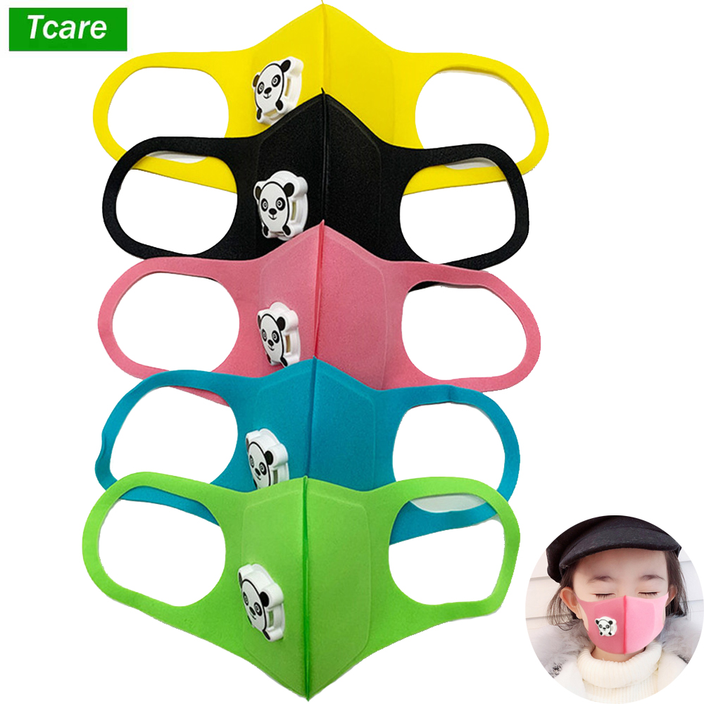 1Pcs Mouth Mask Children Kids Thicken Sponge Face Mouth Mask Anti Dust Pollution PM2.5 Respirator With Panda Shape Breath Valve