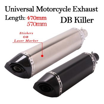 Slip On 470MM 570MM Universal Motorcycle Exhaust Pipe Escape Muffler Removable DB Killer 51MM For R3 Z900 TRK502 CBR500 CBR1000 motorcycle exhaust pipe muffler escape db killer 36mm 51mm for ducati st2 st4 s abs 748 750ss 800ss 900ss 1000ss 996 998 1098