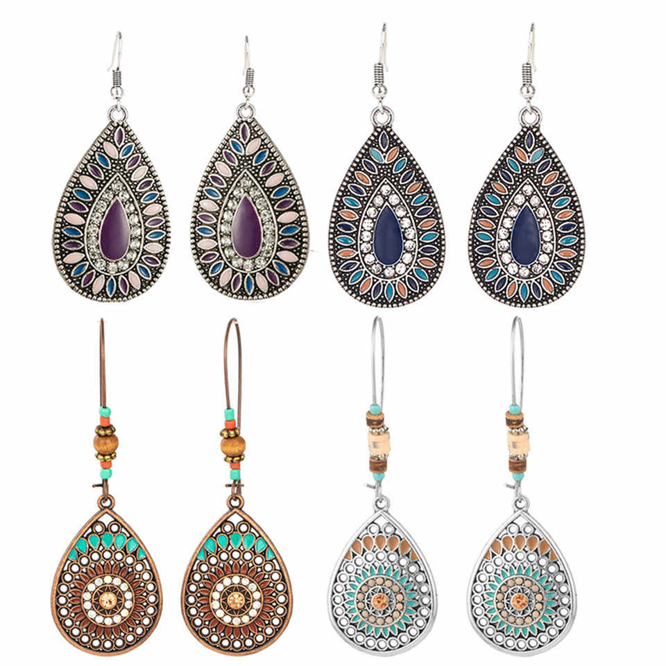 Bohemian Water Drop Earrings For Women Ethnic Vintage Long Resin Handmade Hanging Earring Female Indian Jewelry Bridal Gifts