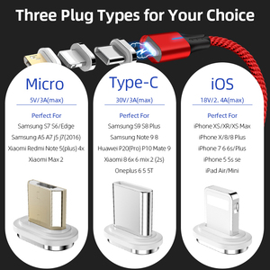 Image 5 - SUNPHG 携帯電話 3A 磁気ケーブル充電器 2m マイクロ USB 高速充電タイプ C データケーブル iphone 雷 xs xr サムスン S9