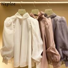 Neploe Sweet Stand Collar Puff Sleeve Chiffon Shirt Autumn Japan Style New All-match Women Blouse Chic Bow Drawstring Blusas