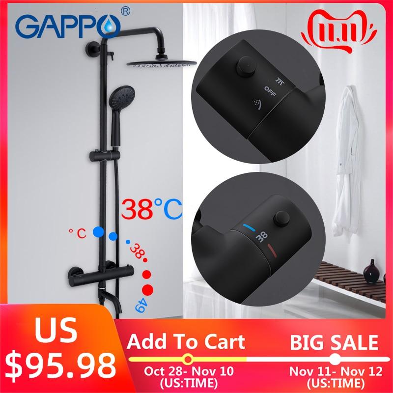 Gappo preto chuveiro torneiras banheira termostática temperatura quente e fria sistema de chuveiro grande sobrecarga