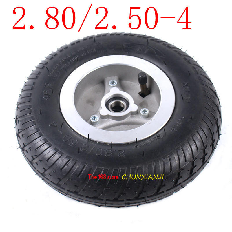 High quality <font><b>2.80/2.50</b></font>-<font><b>4</b></font> inner and outer tyre with hub/rim <font><b>2.80/2.50</b></font>-<font><b>4</b></font> electric tricycle electric skateboard wheel tyre image
