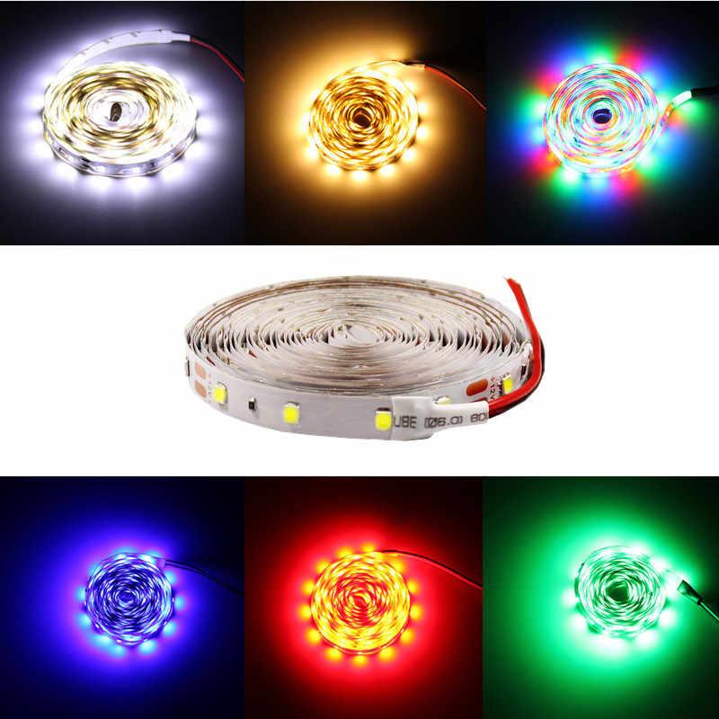 5 M/Gulungan Tahan Air RGB LED Strip Neon Lampu Hangat Putih Biru Merah Hijau Pita LED Fleksibel Strip Lampu tape Adaptor 12 V