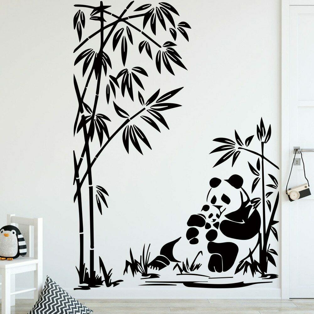 Наклейка на стену с изображением милой панды для детской комнаты, аксессуары для украшения, натуральное растение, Бамбуковая виниловая нак...