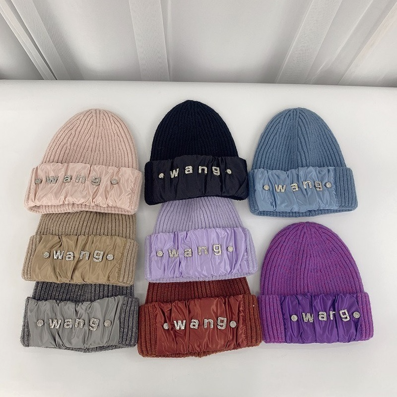 2021 New Autumn and Winter Net Red Knitted Hat Ladies Hat Rhinestone Men's Wool Hat Fashion Parent-child Ear Protection Hat
