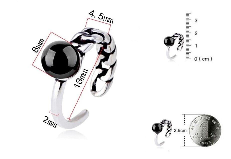 925 סטרלינג כסף טבעת תכשיטי פנינה שחור אדום טבעי אבן בציר תאילנדי כסף אסימטרית טבעות לגברים נשים S-R65