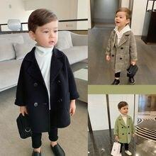 Wool Coat Jackets Boys Kids Outerwear Spring Girls Baby-Boy Winter Grid Lapel Double-Breasted