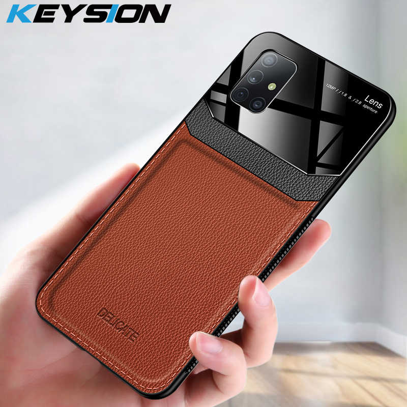 Keysion Shockproof Case untuk Samsung A71 A51 A70 A50 A20 A10 Kulit Cermin Kaca Tempered Ponsel Penutup Belakang untuk Galaxy a50S A30 S