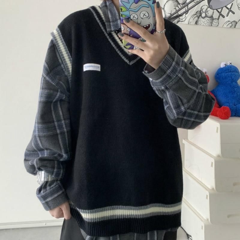 Hot DealsSweater Vest Couples Shrug-Patchwork V-Neck Oversize Knitted Harajuku Korean-Style Ins-Chic