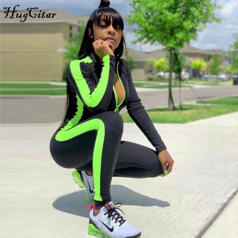 Hugcitar Outfits Jumpsuit Streetwear Long-Sleeve Patchwork Zippers Body Autumn Striped title=