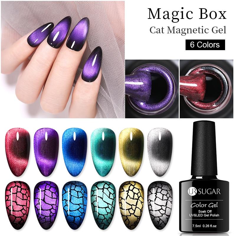 UR сахар 9D Хамелеон кошачий магнитный лак для ногтей Гель-лак, Длительное Действие, Galaxy блестящие магнит ногтей замочить от УФ-гель для ногте...