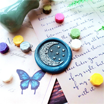 Gwiazdy księżyca gwiaździste niebo pieczęć głowa Retro stempel z drewna pieczęć pieczęć woskowa ślubna dekoracyjna pieczęć pieczęć woskowa s tanie i dobre opinie xiuzhang Standard Stamp Metal Personalized Motto