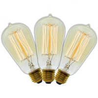 3 Pcs/Lot Handmade Edison Lamps Carbon Filament Clear Glass's Edison Retro Vintage Incandescent Bulb 40W/60W 220V E27 ST58