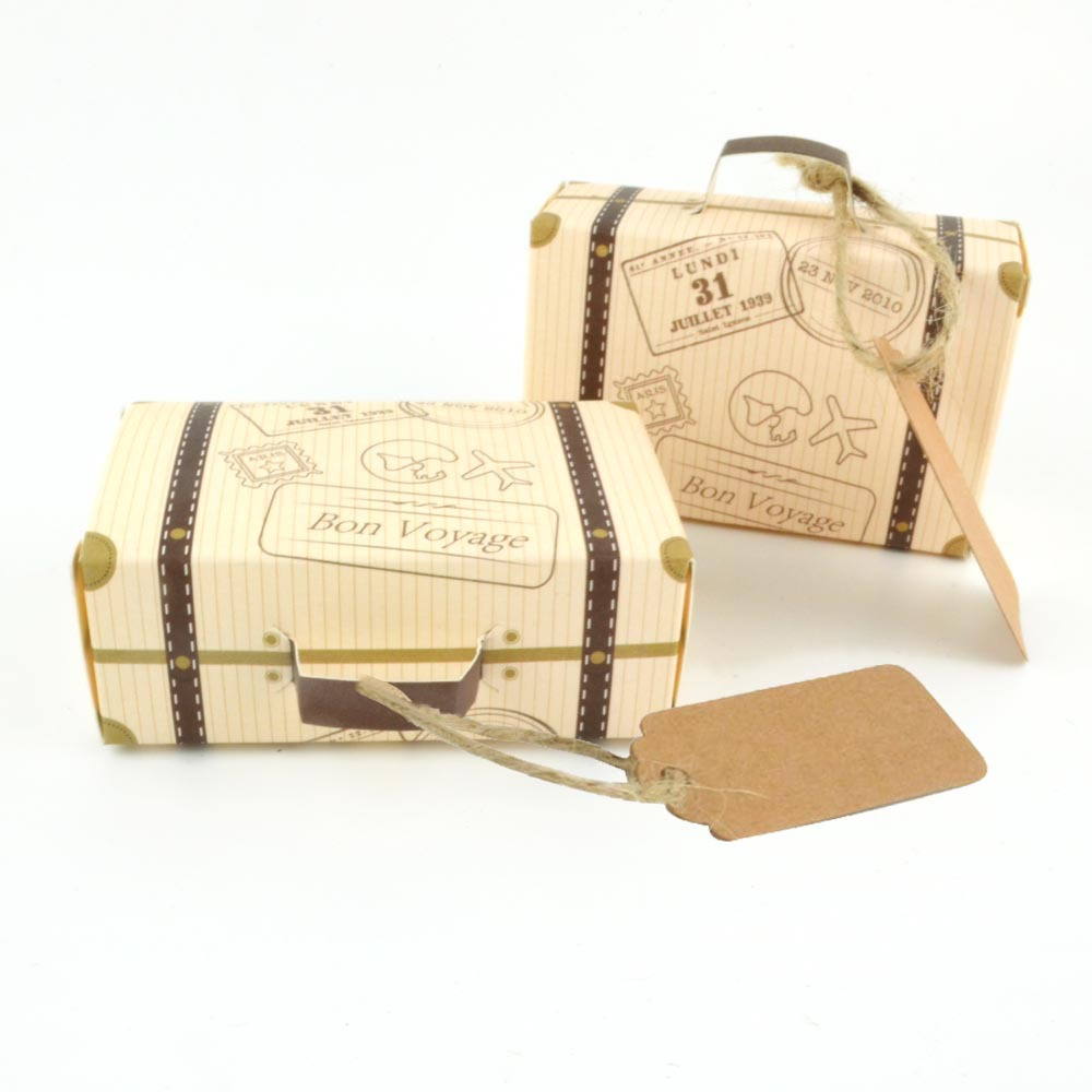 10-100pcs Carton Printed Mini Suitcase Candy Gift Boxes Vintage Kraft Paper Wedding Travel Theme Gift Box Bags With Tags Rope