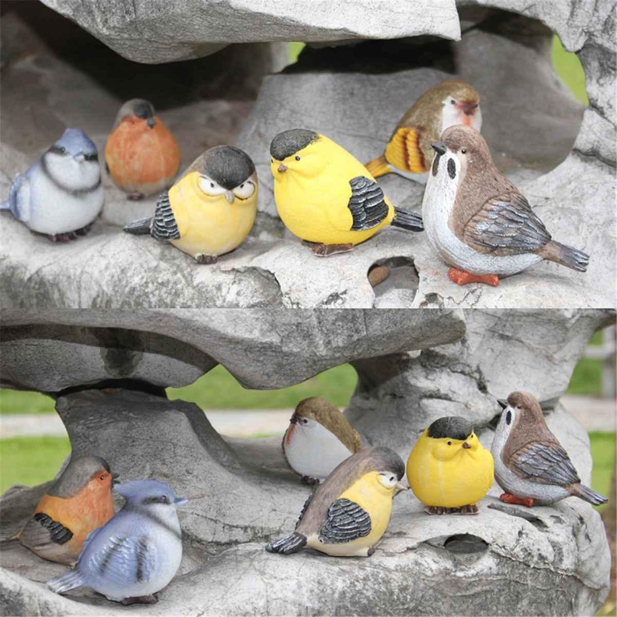 6pcs/set DIY Micro Pot Plant Decoration Artificial Birds doll,Small bird Landscape Bonsai Plant Garden Ornament and Decorations