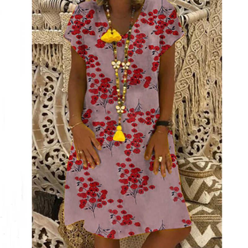 สตรีลายดอกไม้พิมพ์สั้นแขนยาวVคอชุดสุภาพสตรีลำลองHem Baggy Kaftan Plusขนาด
